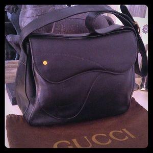 Black Vintage Gucci Saddle Bag